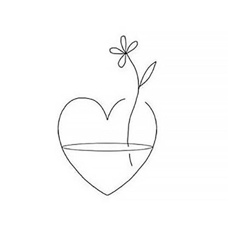 FLOWER IN HEART SIMPLE DRAWING