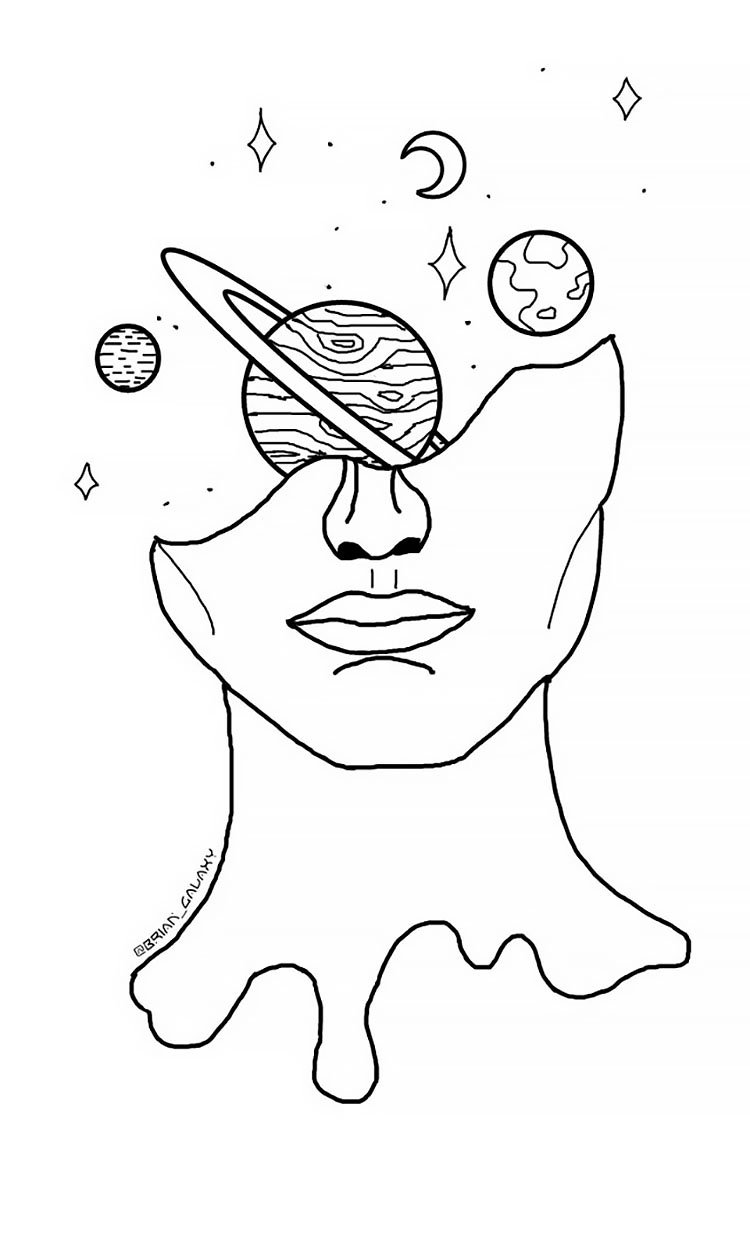 PLANETS AROUND HEAD COOL DRAWING IDEA