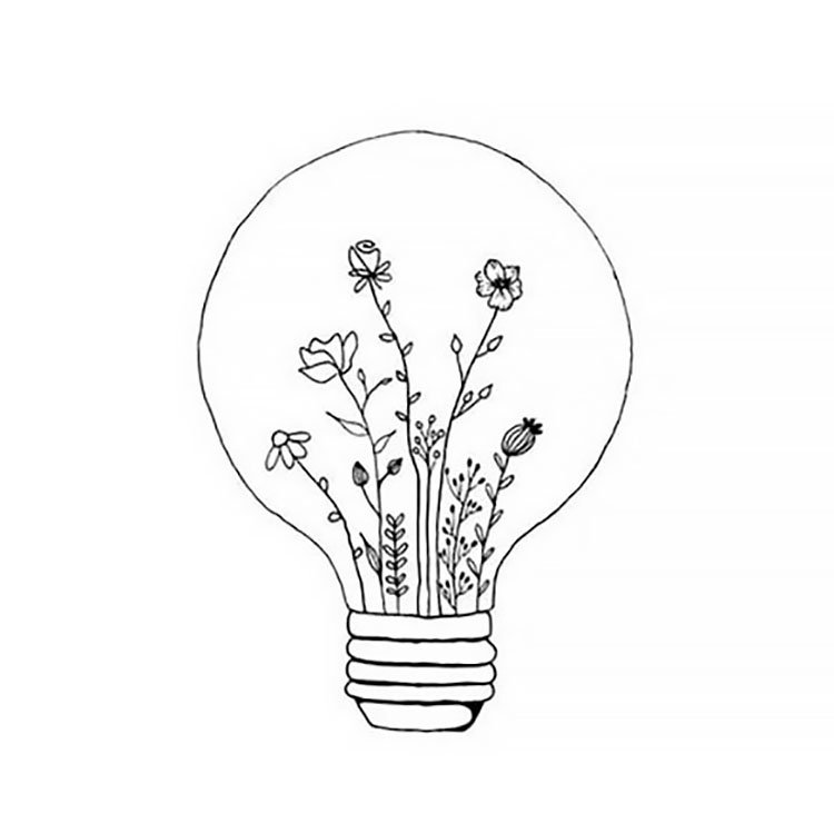 FLOWERS IN LIGHT BULB EASY DRAWING