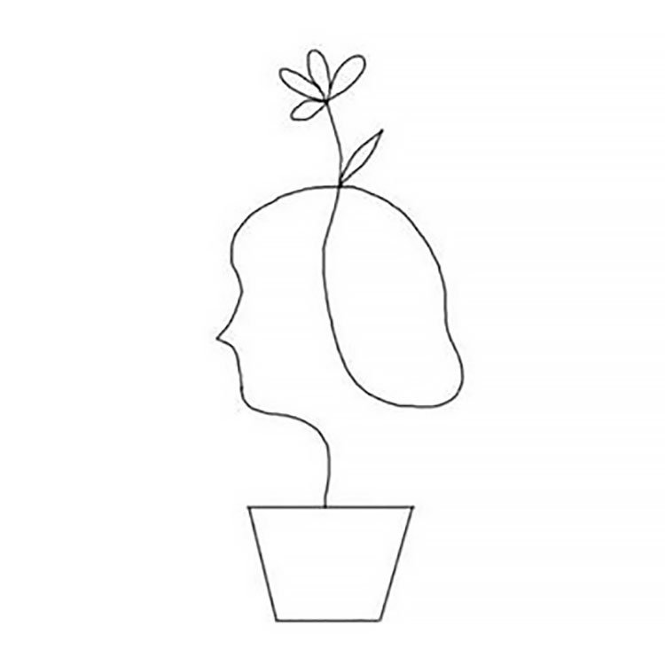 FACE IN FLOWER POT DRAWING