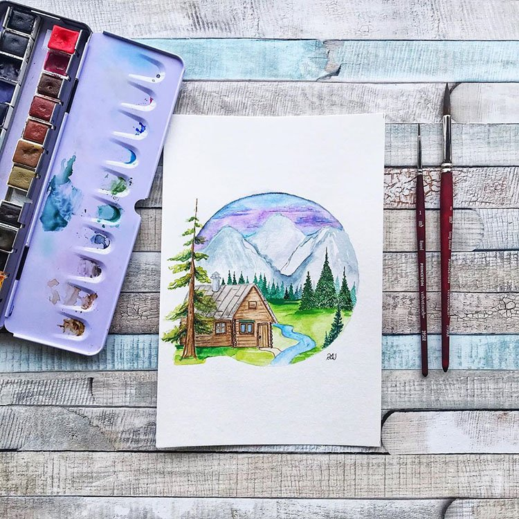 CIRCULAR WATERCOLOR HOUSE WITH MOUNTAINS