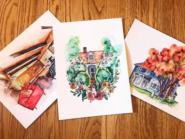 THREE PAINTINGS OF HOUSES