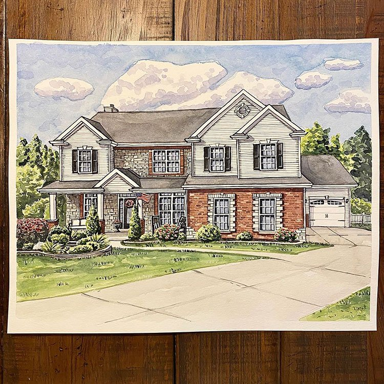AMERICAN HOME WITH FLAG PAINTING