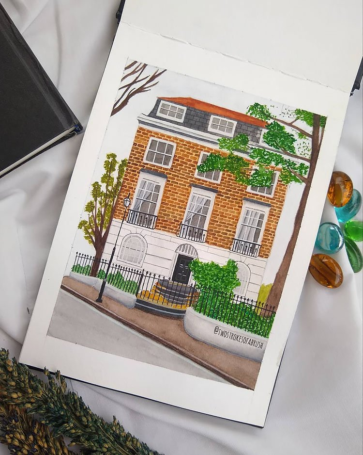 THREE STORY HOUSE IN LONDON PAINTING