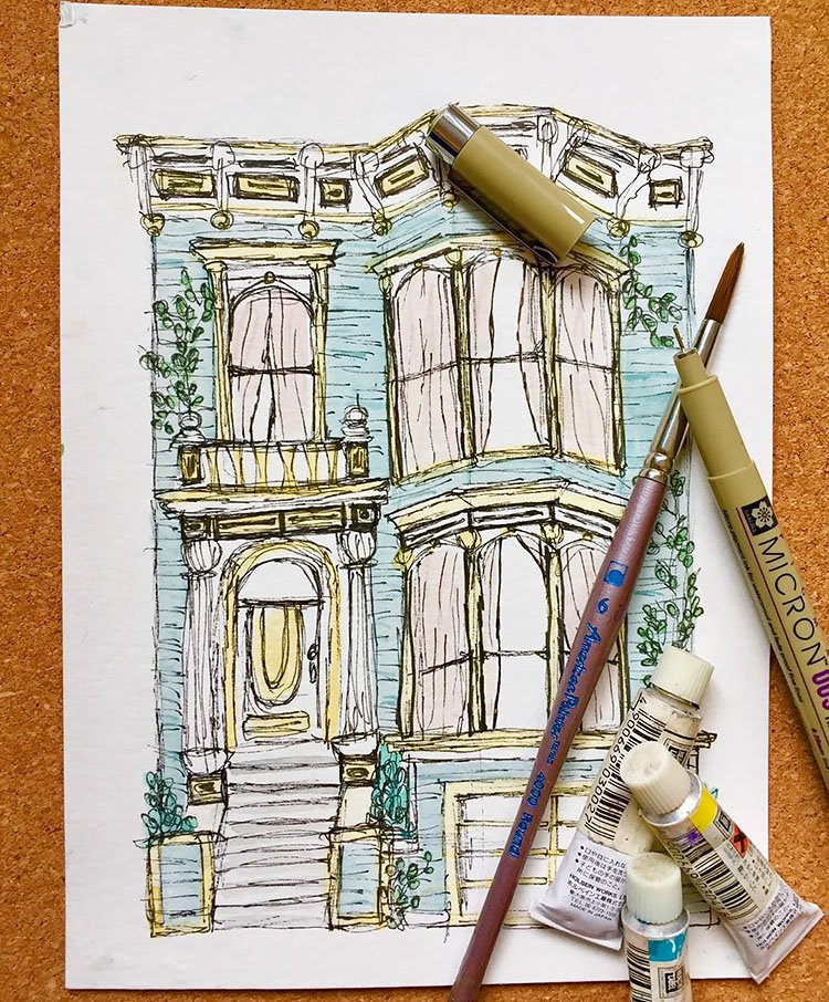 HOUSE SKETCH AND PAINTING