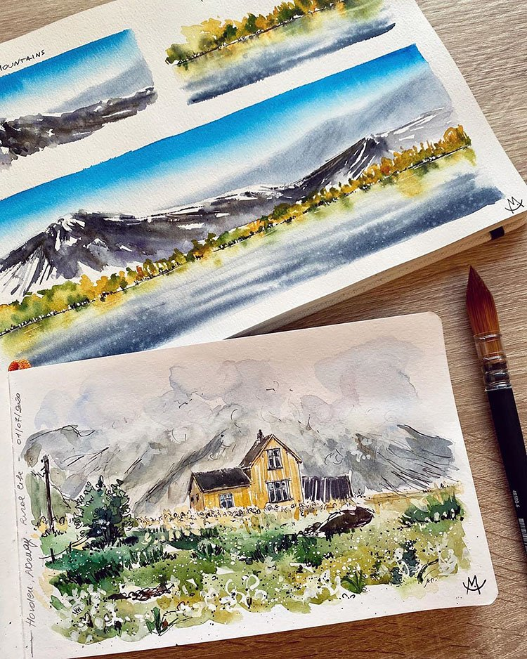 WATERCOLOR HOUSE IN THE WILDERNESS