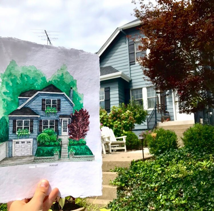 WATERCOLOR BLUE HOUSE REFERENCE