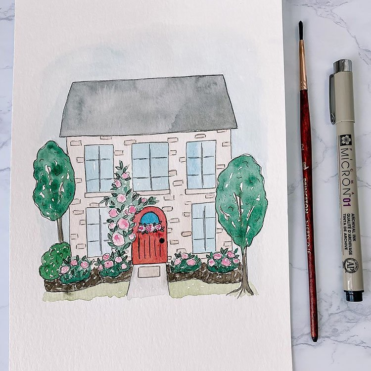 SIMPLE WATERCOLOR HOUSE WITH ROSES