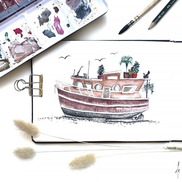 WATERCOLOR BOAT HOUSE