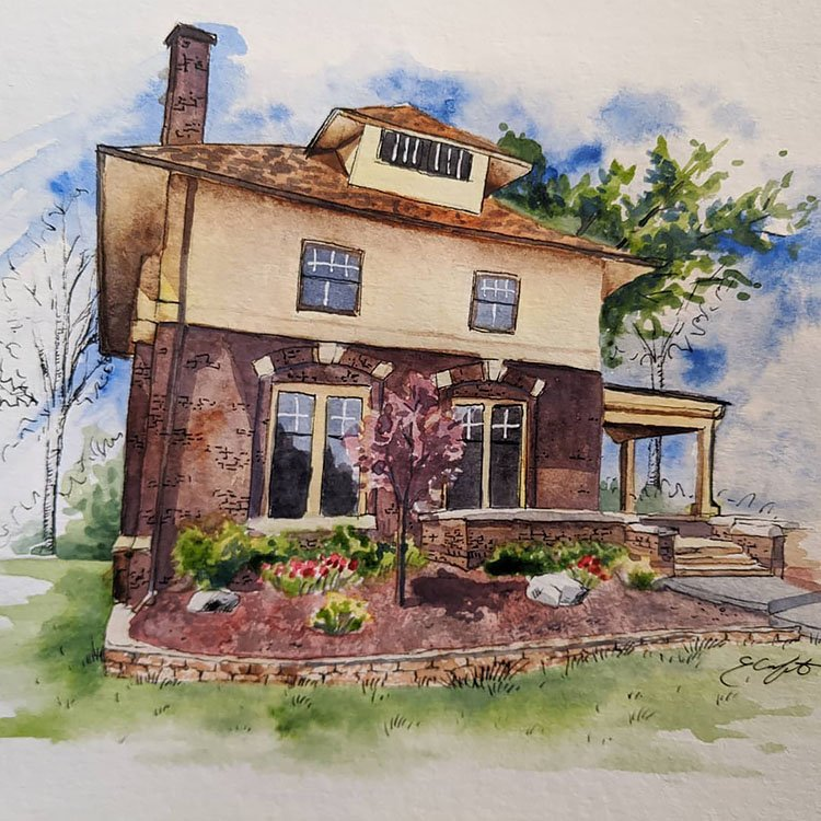 WATERCOLOR HOUSE USING BROWNS