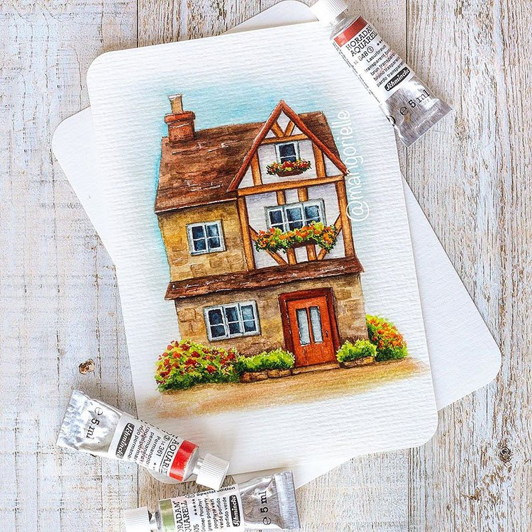 WATERCOLOR COTTAGE WITH FLOWERS