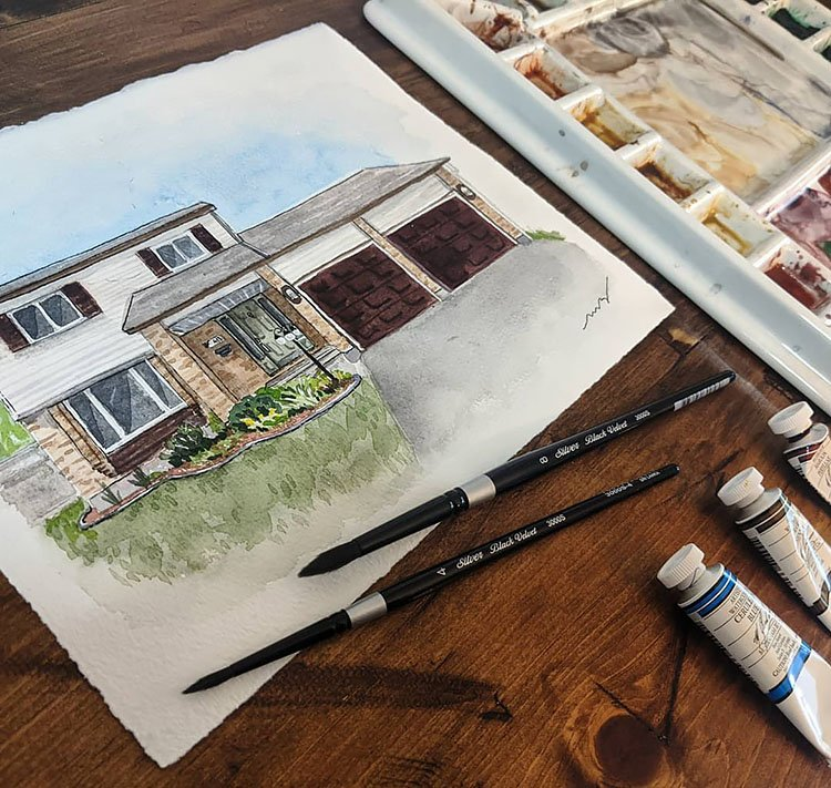 60S WATERCOLOR HOUSE