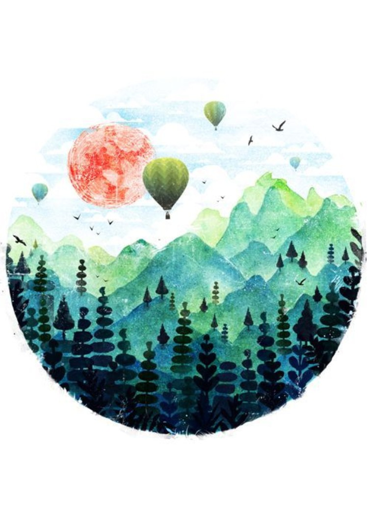 WATERCOLOR HOT AIR BALLOONS AND MOUNTAIN