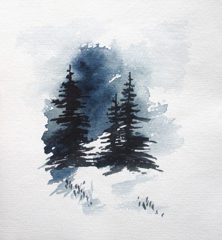 SIMPLE WATERCOLOR TREES