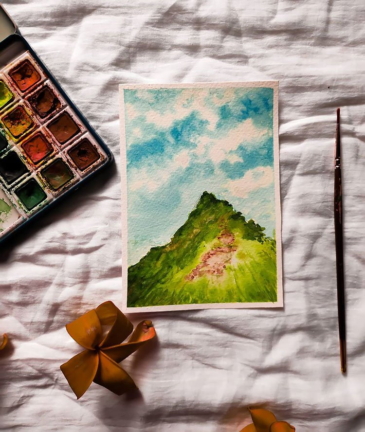 WATERCOLOR GREEN MOUNTAIN WITH BLUE SKY