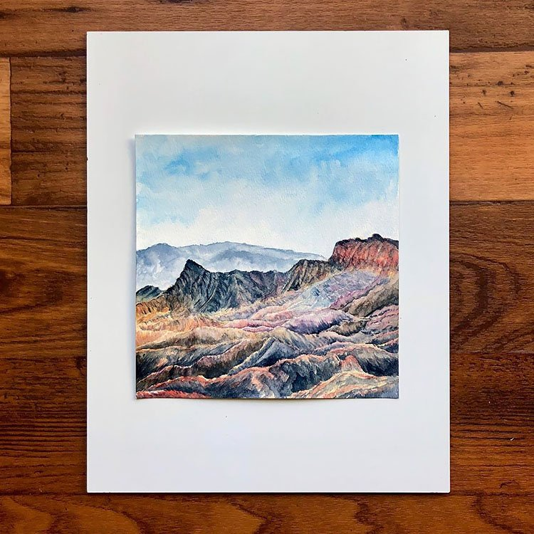 REALISTIC WATERCOLOR MOUNTAINS PAINTING