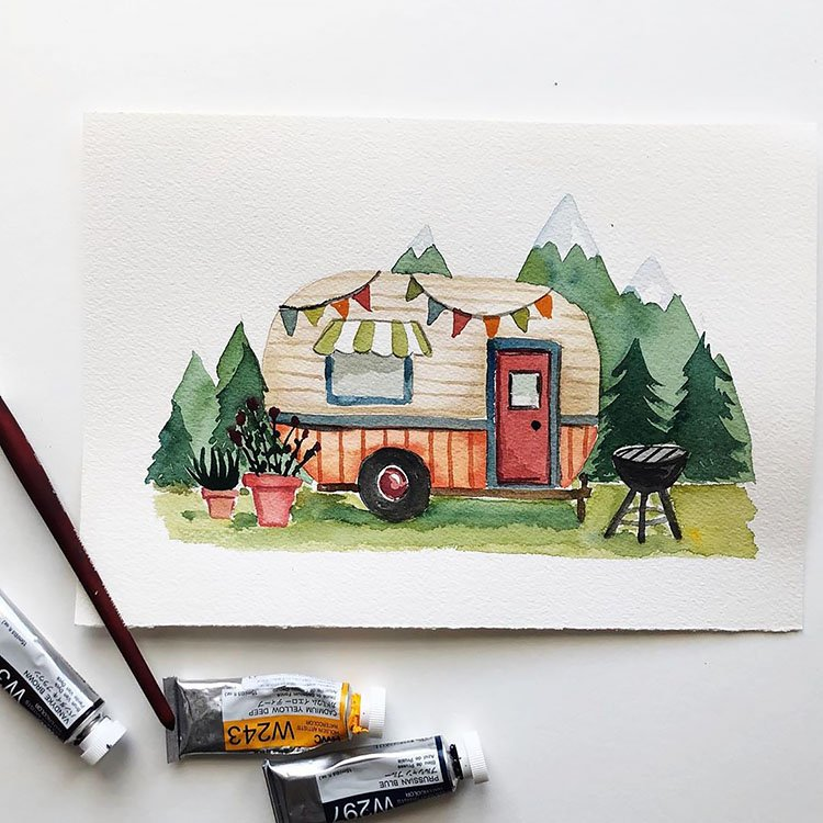 WATERCOLOR CAMPER IN THE WILDERNESS