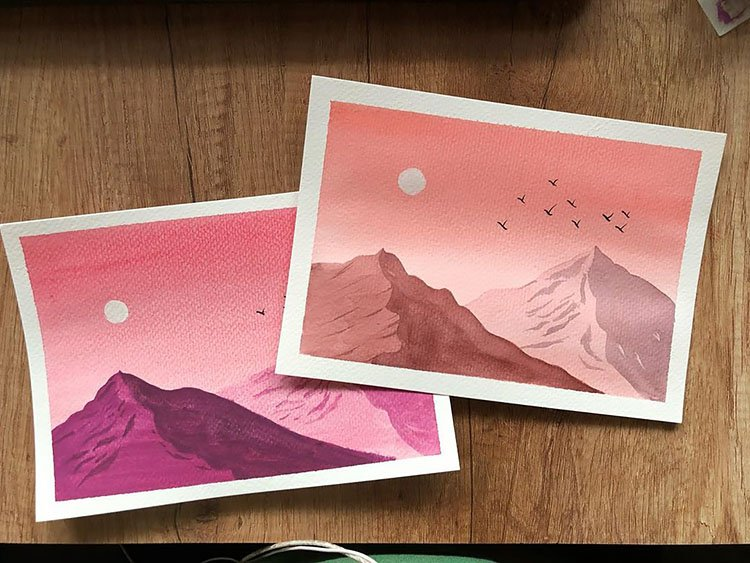 PINK MOUNTAINS AND SKY PAINTING