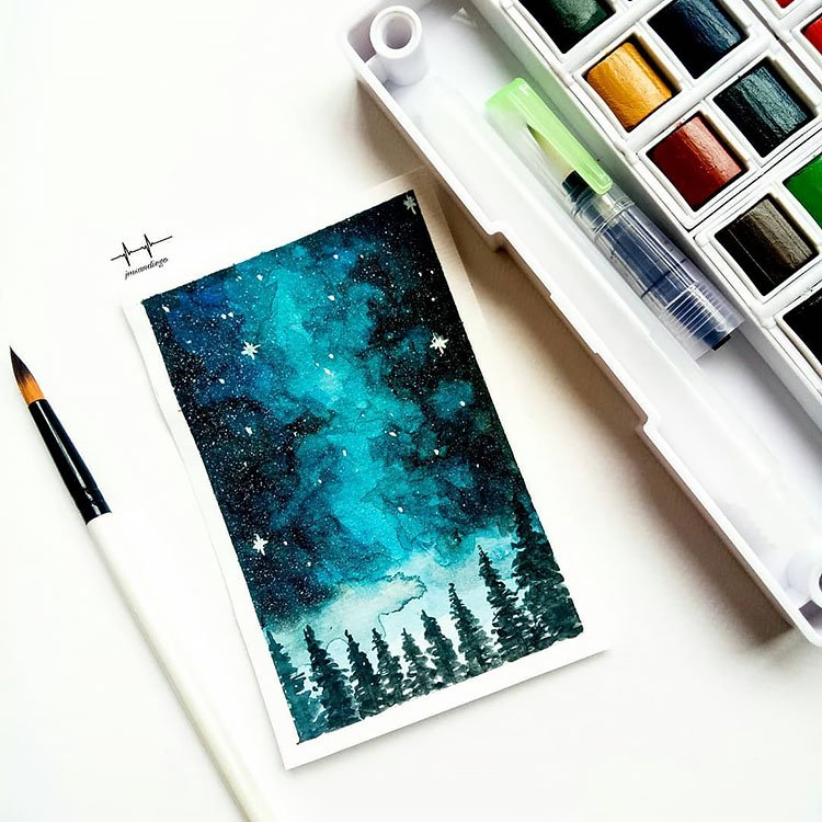 BLUE NIGHT SKY WATERCOLOR