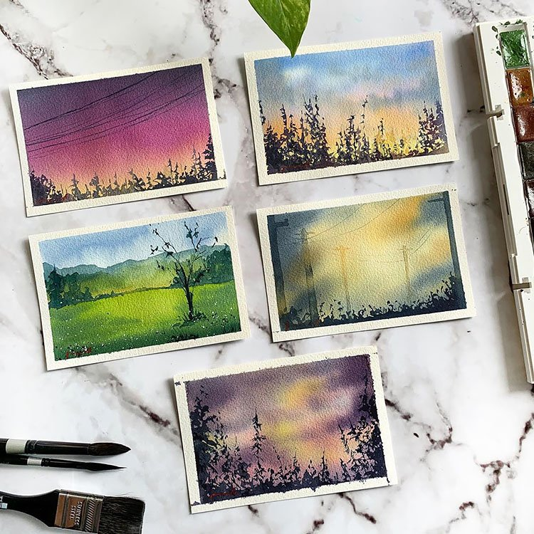 FIVE WATERCOLOR OUTSIDE PAINTINGS