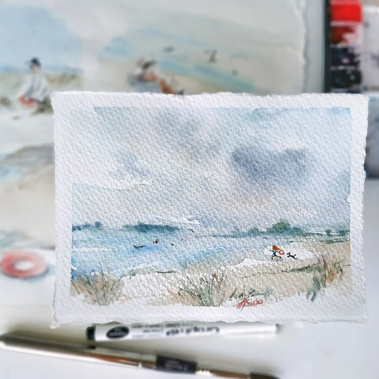 WATERCOLOR BEACH PAINTING WITH MUTED COLORS