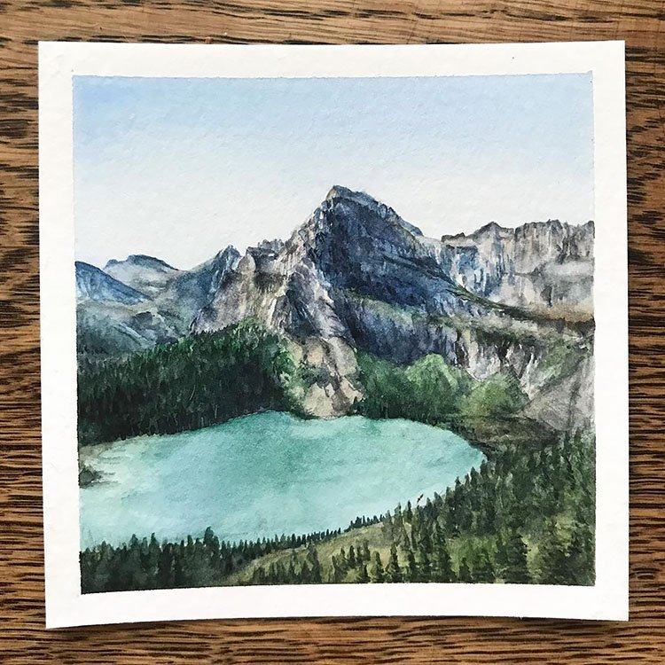 REALISTIC WATER PAINTING OF MOUNTAIN WITH LAKE