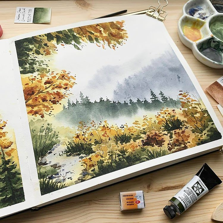 WATERCOLOR TREES AND FIELD OF FLOWERS