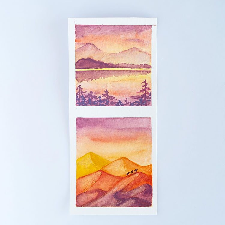 TWO WATERCOLOR LANDSCAPE PAINTINGS WITH MOUNTAINS