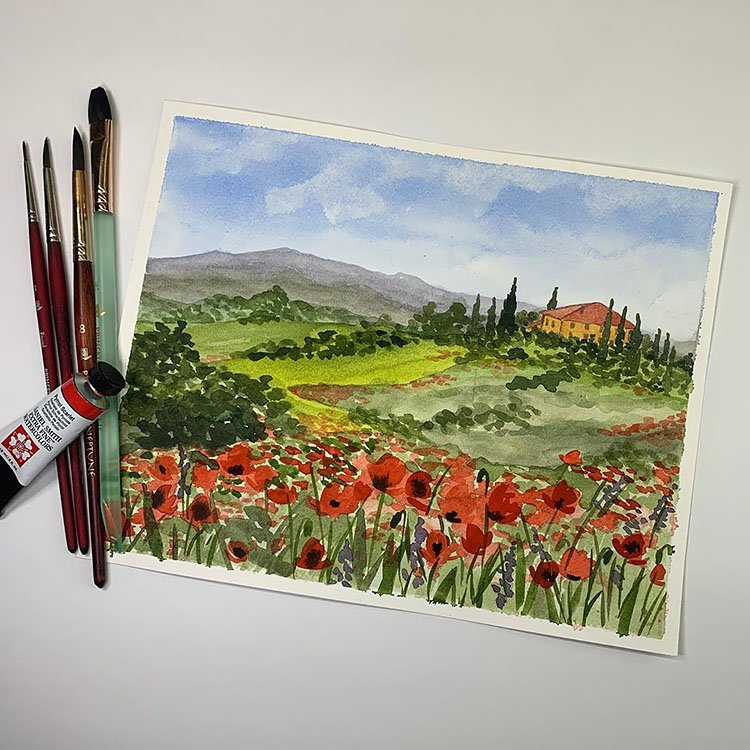 WATERCOLOR POPPY FIELD WITH HOUSE