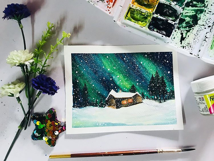 WATERCOLOR NORTHERN LIGHTS PAINTING WITH HOUS