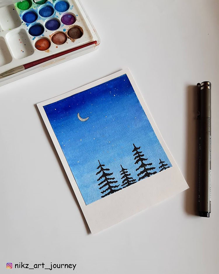 BLUE SKY WITH MOON AND TREES
