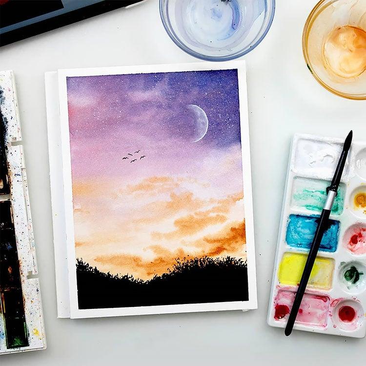 PURPLE AND ORANGE NIGHT SKY WITH MOON PAINTING