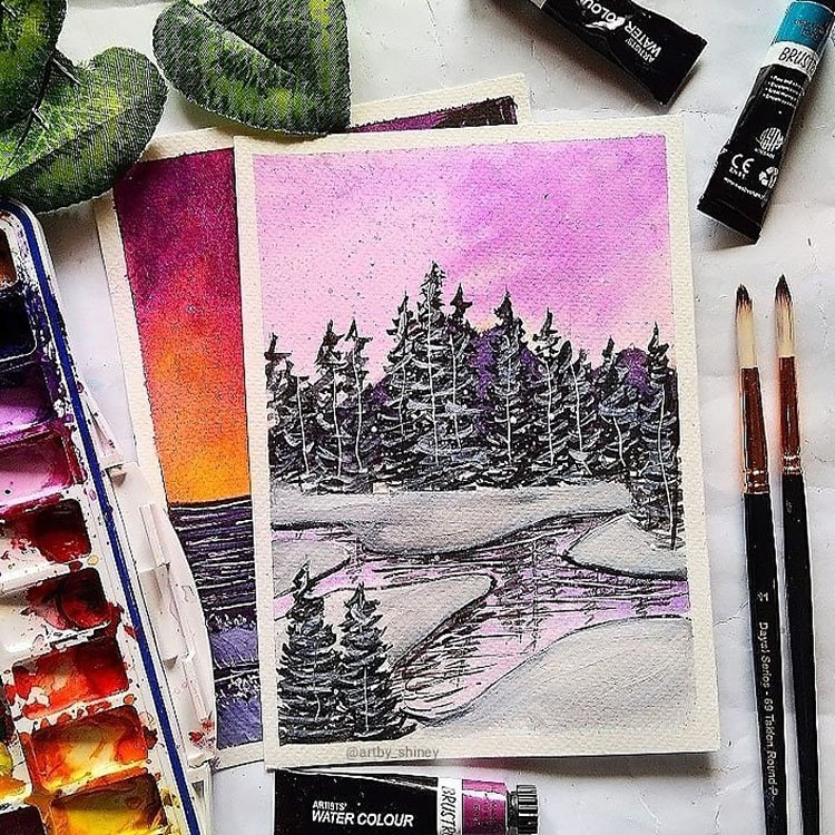 WATERCOLOR TREES WITH PRUPLE SKY