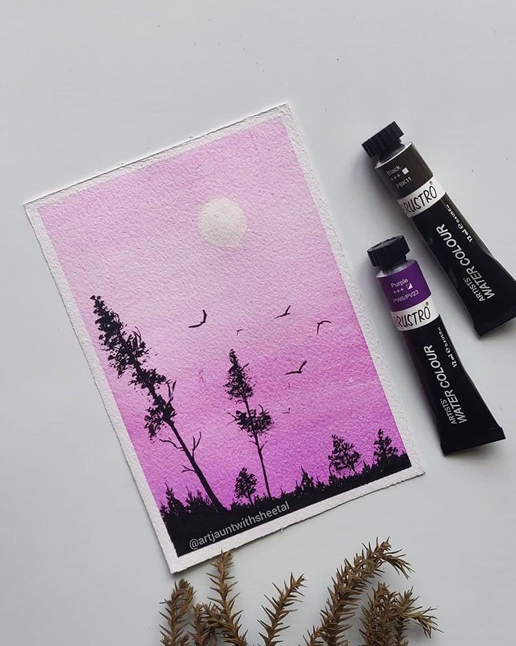 PURPLE SKY WITH BIRDS