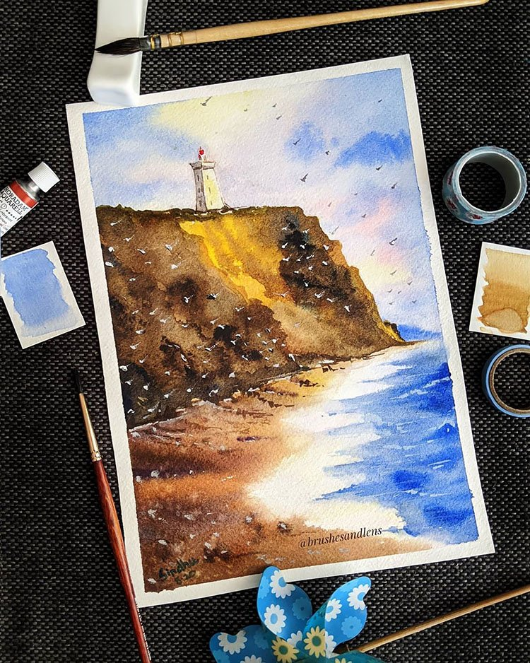 WATERCOLOR LIGHTHOUSE OF CLIFF