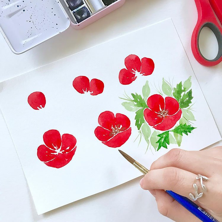HOW TO PAINT A RED FLOWER