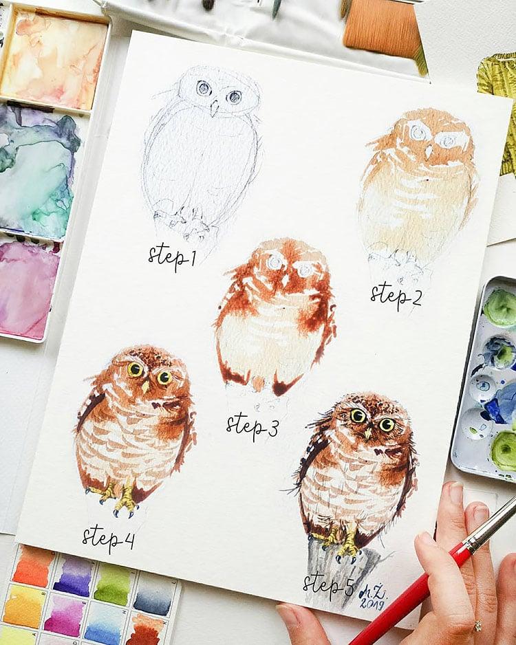 watercolor owl tutorial