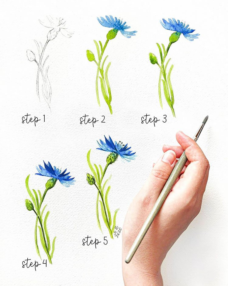 HOW TO PAINT A BLUE FLOWER