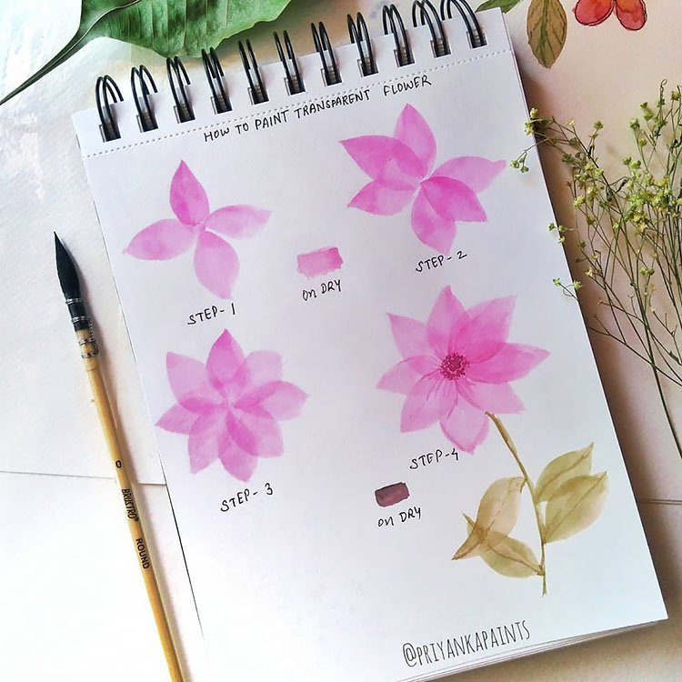 pink flower watercolor tutorial