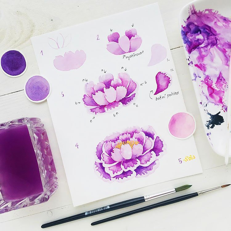 HOW TO PAINT A PURPLE FLOWER