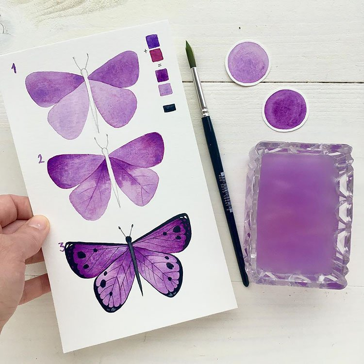 HOW TO PAINT PURPLE  BUTTERFLY