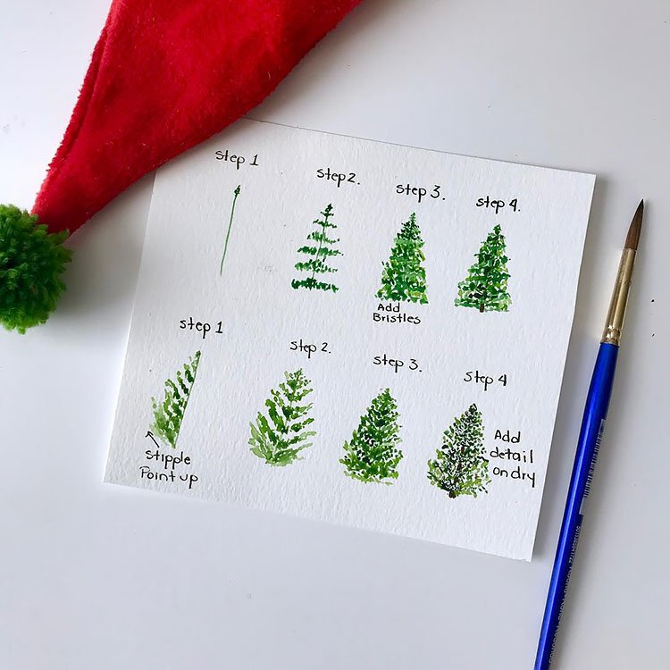 HOW TO PAINT AN EVERGREEN TREE