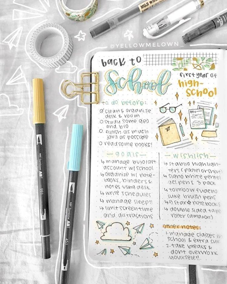 back to school bullet journal spread