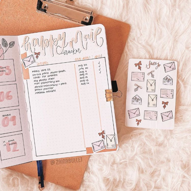 happy mail tracker bullet journal page