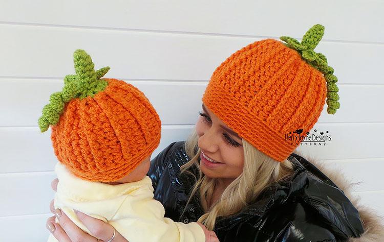 pumpkin mom and baby pumpkin hat