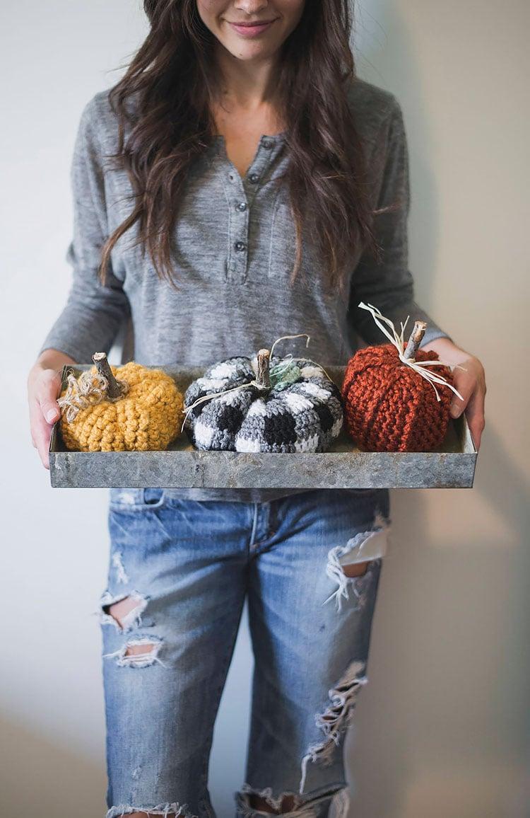 rustic pumpkin set crochet