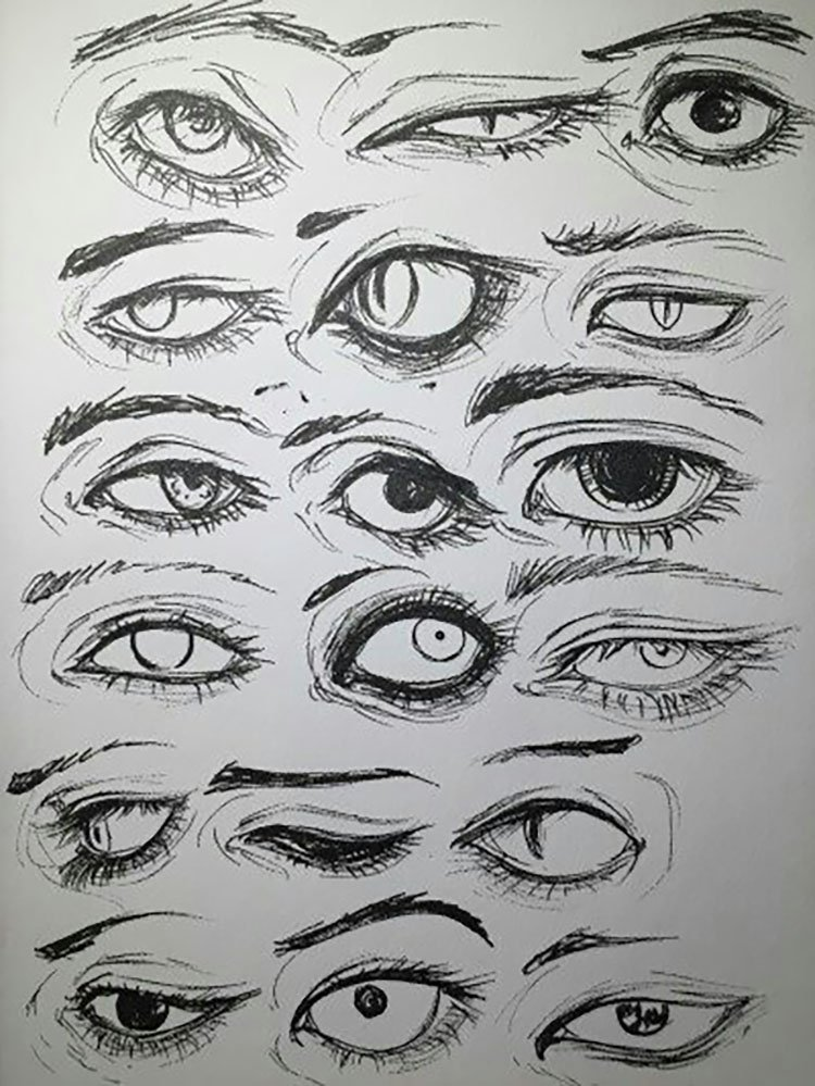 DIFFERENT EYE EXPRESSION SKETCHES