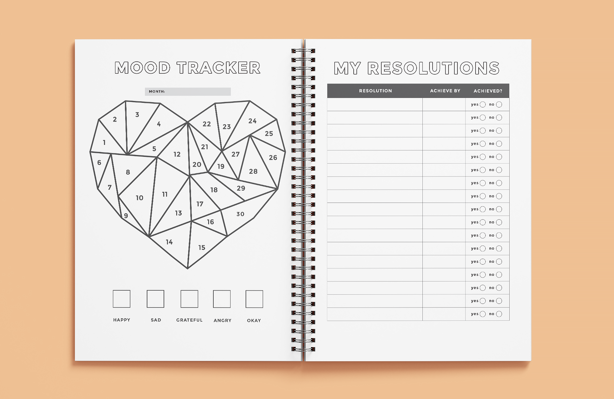 mood tracker and resolutions page