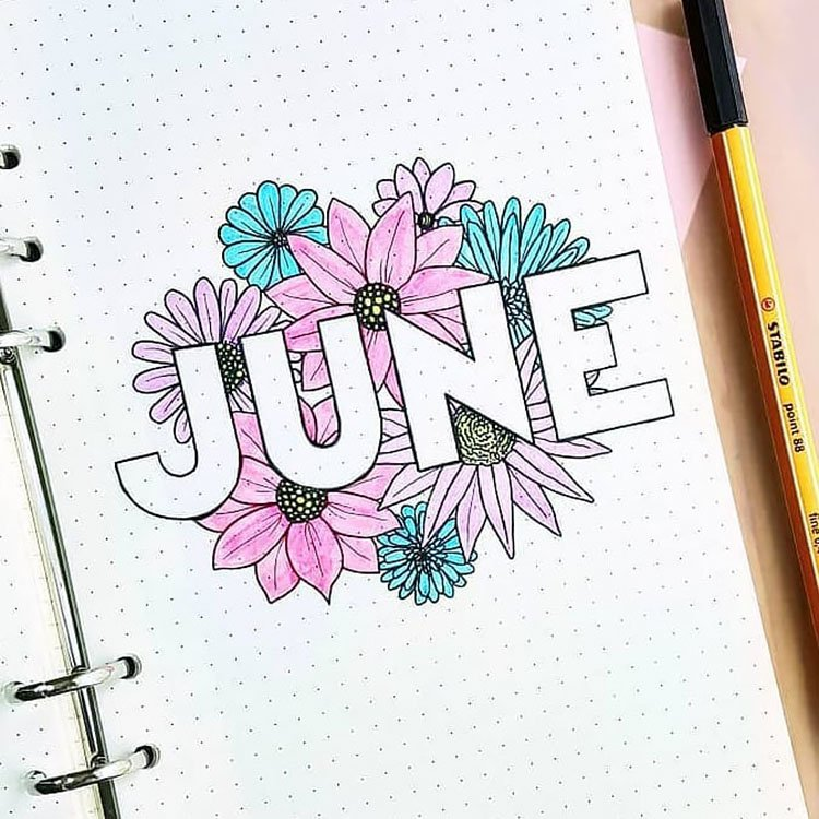 PURPLE AND BLUE FLOWERS JUNE COVER