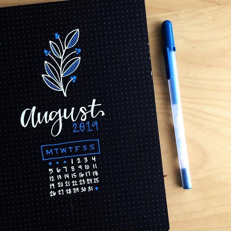 BLACK BULLET JOURNAL DESIGN FOR AUGUST